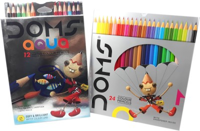 DOMS Majestic Basket 12 Aqua Water Colour Pencil Alongwith 24 Shade of Multicolour Hexagonal Shaped Color Pencils