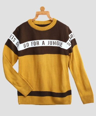 Miss & Chief Striped Round Neck Round Neck Casual Boys Multicolor Sweater