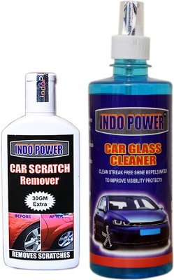 indopower MODEL CCN197 CAR GLASS CLEANER 500ml+ Scratch Remover 100gm. Vehicle Interior Cleaner