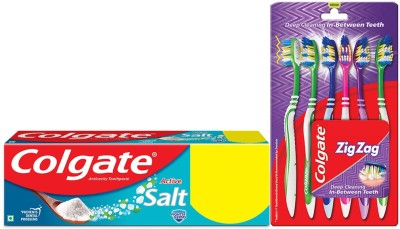 Colgate Active Salt Toothpaste -300 gm with ZigZag Toothbrush Medium -6 Pcs