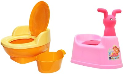 Nabhya Combo Of 2 Baby Toilet Training Potty Seat with Upper Closing Lid Removable Bowl Potty Seat And Cartoon Face with Removable Tray & Closing Lid(Pack of 2) Potty Seat
