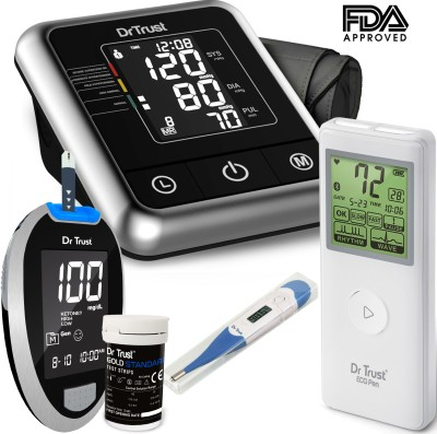 Dr. Trust (USA) Best Electric Digital testing apparatus Bp machine Fully Automatic Blood pressure checking instrument + Portable Smart Small Pocket Bluetooth Connect Heart Attack cardiac holter mobile device Patient channel ECG Pen Heart Rate Measurement Monitor Electrocardiogram Medical Grade Electrotherapy + Glucose Blood Sugar Check testing Glucometer accu sugar chek strips kit diabetes check touch machines with 10 Strips and lancets + Thermometer With flexible Tip For Baby ,Kids & Adults Health Care Appliance Combo