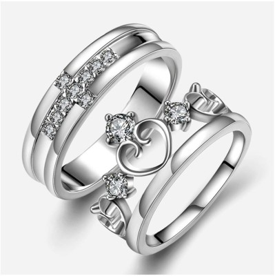 Men Style King Crown Queen And Cross Adjustable 925 Sterling Silver Plated Crystal Proposal Stainless Steel Cubic Zirconia Rhodium Plated Ring Set