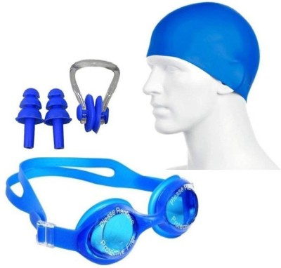 DreamPalace India swimming kit with cap, goggle, 2 pair ear plugs and 1 nose clip combo Swimming Kit