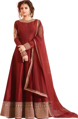 DHARMEE Polycotton Embroidered, Self Design Gown/Anarkali Kurta & Bottom Material
