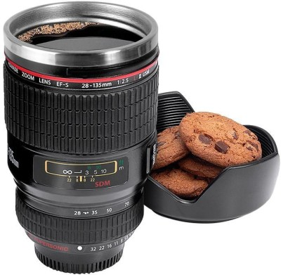NK-STORE Camera Lens Shape Cup Coffee Tea Stainless Steel Thermos & Lens Lid Stainless Steel Mug