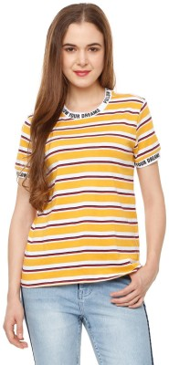 People Striped Women Round Neck Multicolor T-Shirt