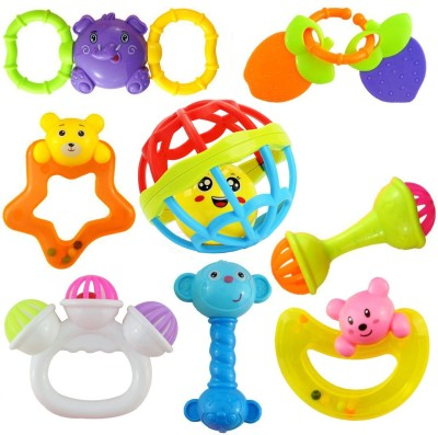 Ramakada Set of 8 Pcs with Various Exciting Toys for New Borns & Infants Rattle (Multicolor) Rattle