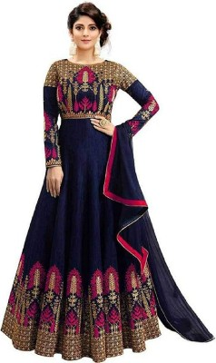DHARMEE Poly Silk Embroidered Gown/Anarkali Kurta & Bottom Material
