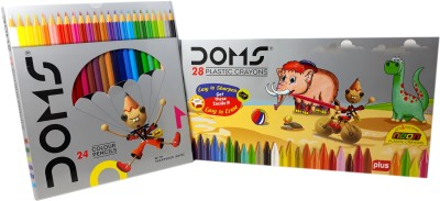 DOMS Majestic Basket 24 Shade of Colour Pencils Alongwith 28 Plastic Crayons - [Easy to Erase & Sharpen] Hexagonal Shaped Color Pencils