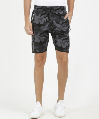 SKULT by Shahid Kapoor Self Design Men Black, Grey Basic Shorts
