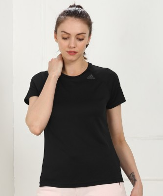 ADIDAS Self Design Women Round Neck Black T-Shirt