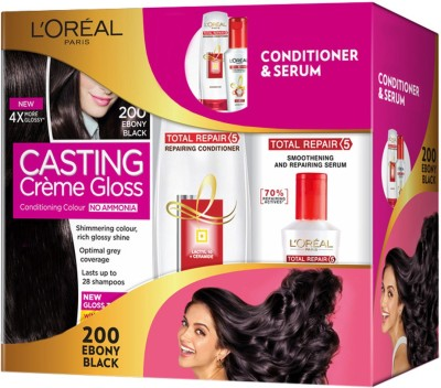 L'Oreal Paris Casting Creme Gloss Hair Color with Total Repair Conditioner and Serum