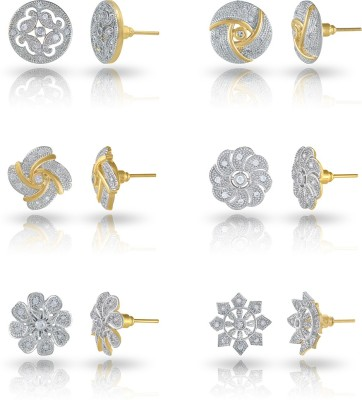 Divastri Combo Of 6 Stylish Crystal 18K Gold Plated Alloy Stud Earring