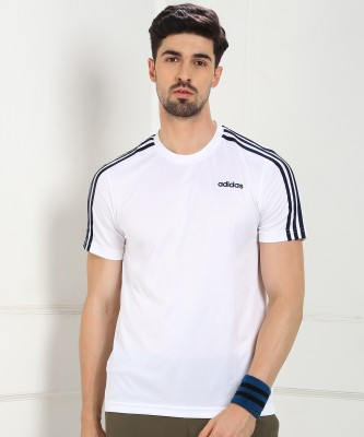 ADIDAS Self Design Men Round Neck White T-Shirt