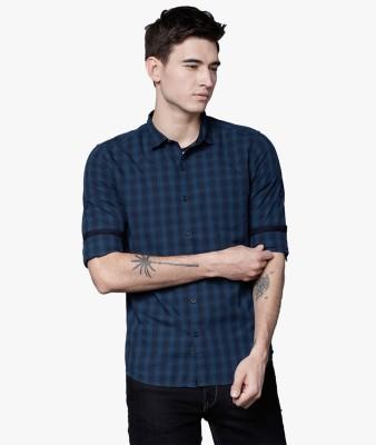 Highlander Men Checkered Casual Blue Shirt