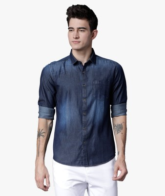Highlander Men Solid Casual Dark Blue Shirt