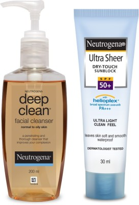 Neutrogena Cleanse & Protect Combo- Deep Clean Facial Cleanser with Ultra Sheer Dry Touch Sunblock
