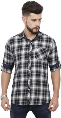 Rope Men Checkered Casual Black Shirt