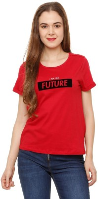 People Printed Women Round Neck Red T-Shirt