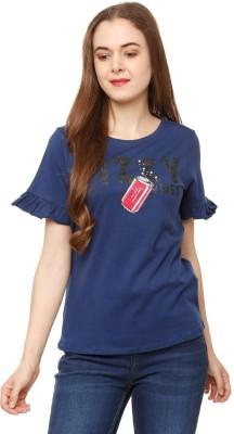People Printed Women Round Neck Dark Blue T-Shirt