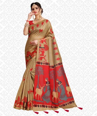 Divastri Printed, Animal Print Fashion Cotton Blend Saree