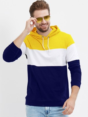 LEWEL Color Block Men Hooded Neck Yellow, White, Blue T-Shirt