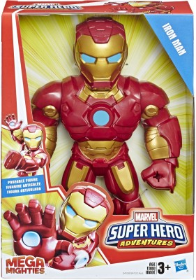 SUPER HERO ADVENTURES Marvel Mega Mighties Iron Man Collectible 10-Inch Action Figure, Toys for Kids Ages 3 and Up