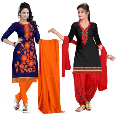 PMD Fashion Cotton Blend Embroidered, Solid Salwar Suit Material