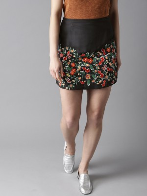 HERE&NOW Embellished Women A-line Black Skirt