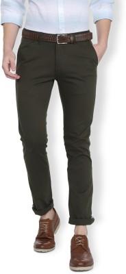 Van Heusen Slim Fit Men Dark Green Trousers