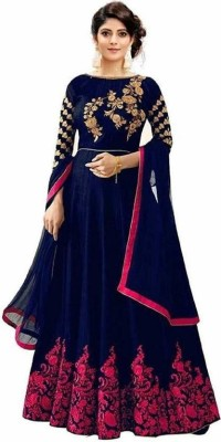 DHARMEE Polycotton Embroidered, Embroidered Gown/Anarkali Kurta & Bottom Material