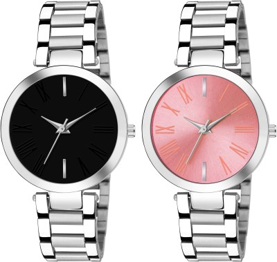 Sponix Mart New Beautiful Girls Watch Dial Black and Pink Silver Strap Analog Watch  - For Women