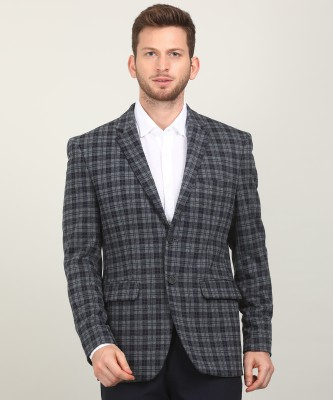Peter England Checkered Single Breasted Casual Men Blazer