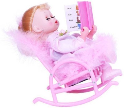 Toyvala Musical Book Reading Chair Doll For Kids (Pink)