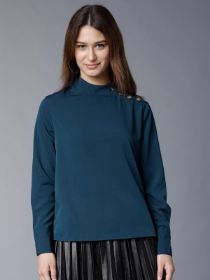 Tokyo Talkies Casual Full Sleeve Solid Women Blue Top