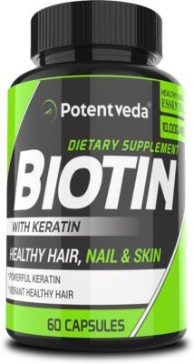 Potentveda Biotin 10000 mcg with Keratin 60 Capsules