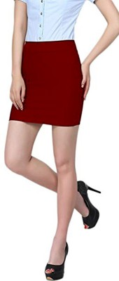 Stars and You Solid Women Pencil Maroon Skirt