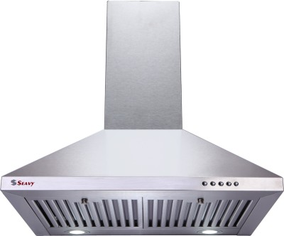 Seavy Acura Stainless Steel 60cm, 1100m3/hr Air Suction Wall Mounted Chimney