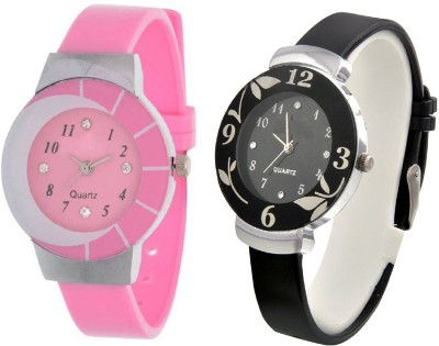 FROLIK Set Of 2 Attractive Pink And Black Pu Material Watches For Girls And Kids Analog Watch  - For Women