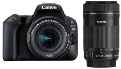 Canon EOS 200D DSLR Camera Body with Dual Lens: EF-S18-55 IS STM + EF-S 55-250 IS STM (16 GB SD Card + Camera Bag)