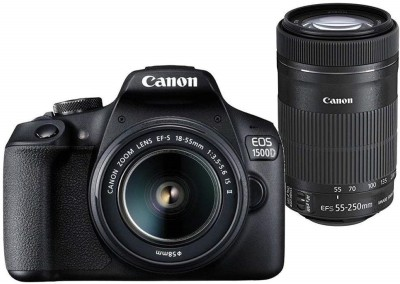 Canon EOS 1500D DSLR Camera Body Dual kit with EF-S 18-55 IS II + 55-250 IS II lens (16 GB Memory Card & Carry Case )