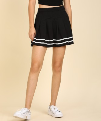 Converse Solid Women Pleated Black Skirt
