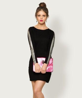 Miss Chase Women Sheath Black Dress