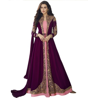 Bipolar Life Faux Georgette Embroidered, Self Design Salwar Suit Material