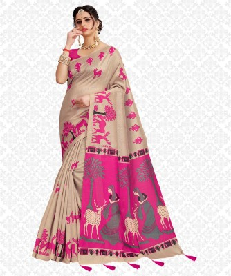 Divastri Printed, Embellished, Self Design, Animal Print Fashion Khadi Silk, Cotton Silk Saree