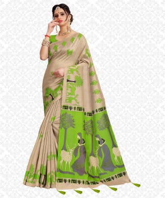 Divastri Printed, Animal Print, Embellished, Self Design Fashion Cotton Blend, Khadi Silk Saree