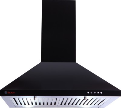 Seavy Acura Black 60cm, 1100m3/hr Air Suction Wall Mounted Chimney