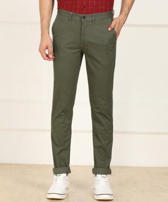 Arrow Sport Slim Fit Men Dark Green Trousers