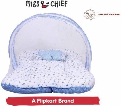 Miss & Chief Baby Mosquito Net With Mattress Baby Mattress Heart & Polka Dots Print